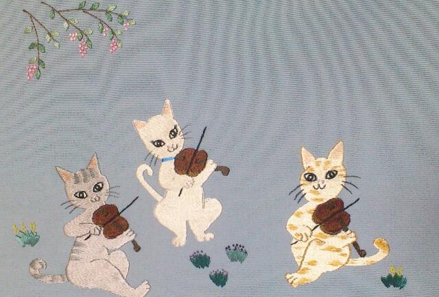 日本刺繍 猫の音楽隊
