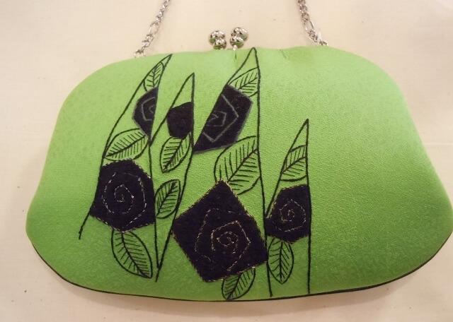日本刺繍 バラのパーティバック